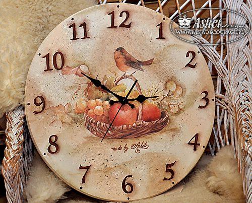 Wielki zegar z ptaszkiem decoupage