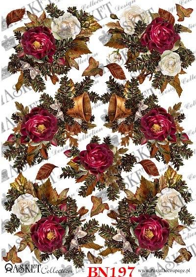 decoupage papier czerwone róże ze świerkiem