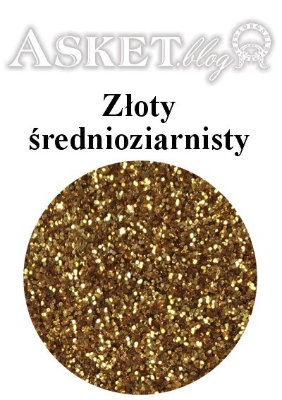 złoty średnioziarnisty brokat