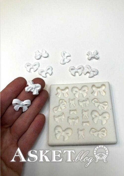 silikonowa foremka z kokardkami wstążeczkami