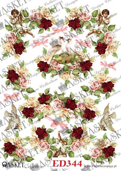 aniołki i gołąbki w girlandach róż