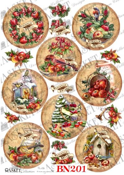 Decoupage Papier świąteczne Jabłuszka