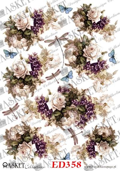 Bukiety pięknych róż w fiołkami